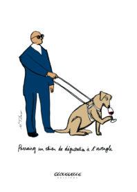 Affichette Chien de dégustation à l'aveugle